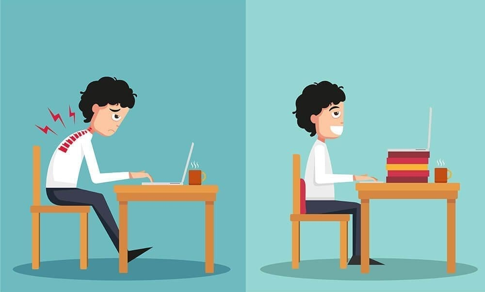 illustration of a man sitting hunched and straight in front of a laptop